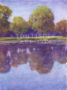 """Riverside Lagoon; Oil on Canvas Panel 9"""" x 12"""""""
