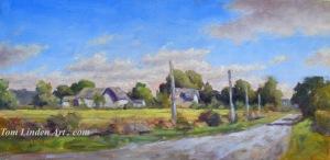"Grange Hall Sky - Plein Air - Oil on Canvas Panel - 8"" x 16"""