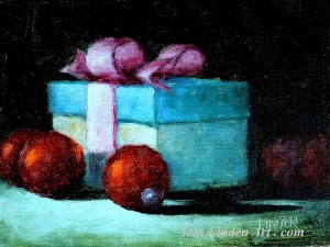 "Package and Ornaments December 17 - Oil on Oil Primed Canvas Panel - 6"" x 8"""