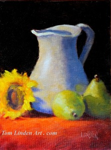 "Pitcher and Pears December 3 - Oil on Oil Primed Canvas Panel - 8"" x 6"""